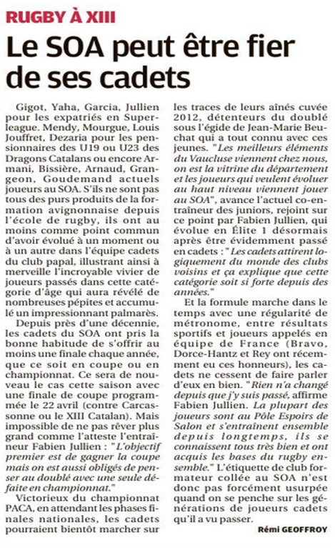 article la Provence Cadets