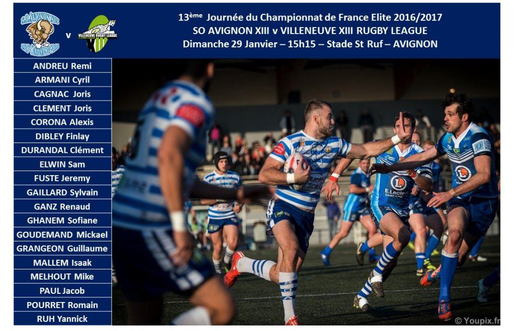 squad par match 2016-2017 v villeneuve