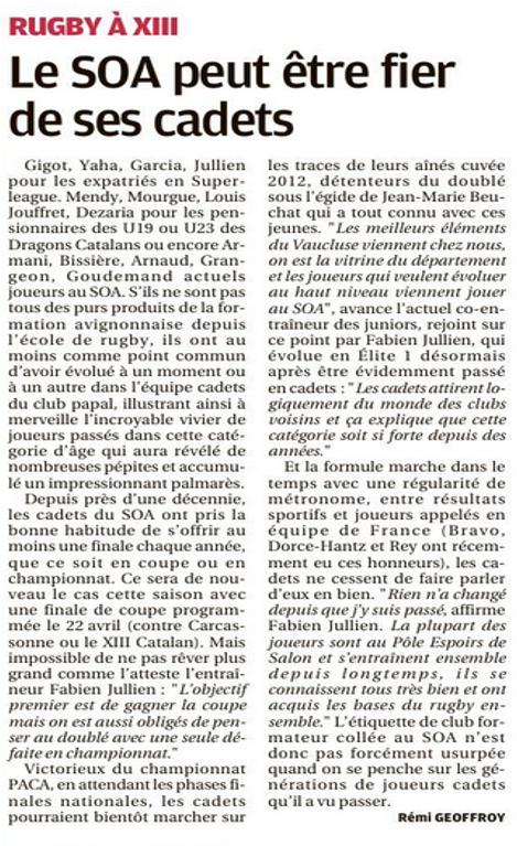 article la Provence Cadets