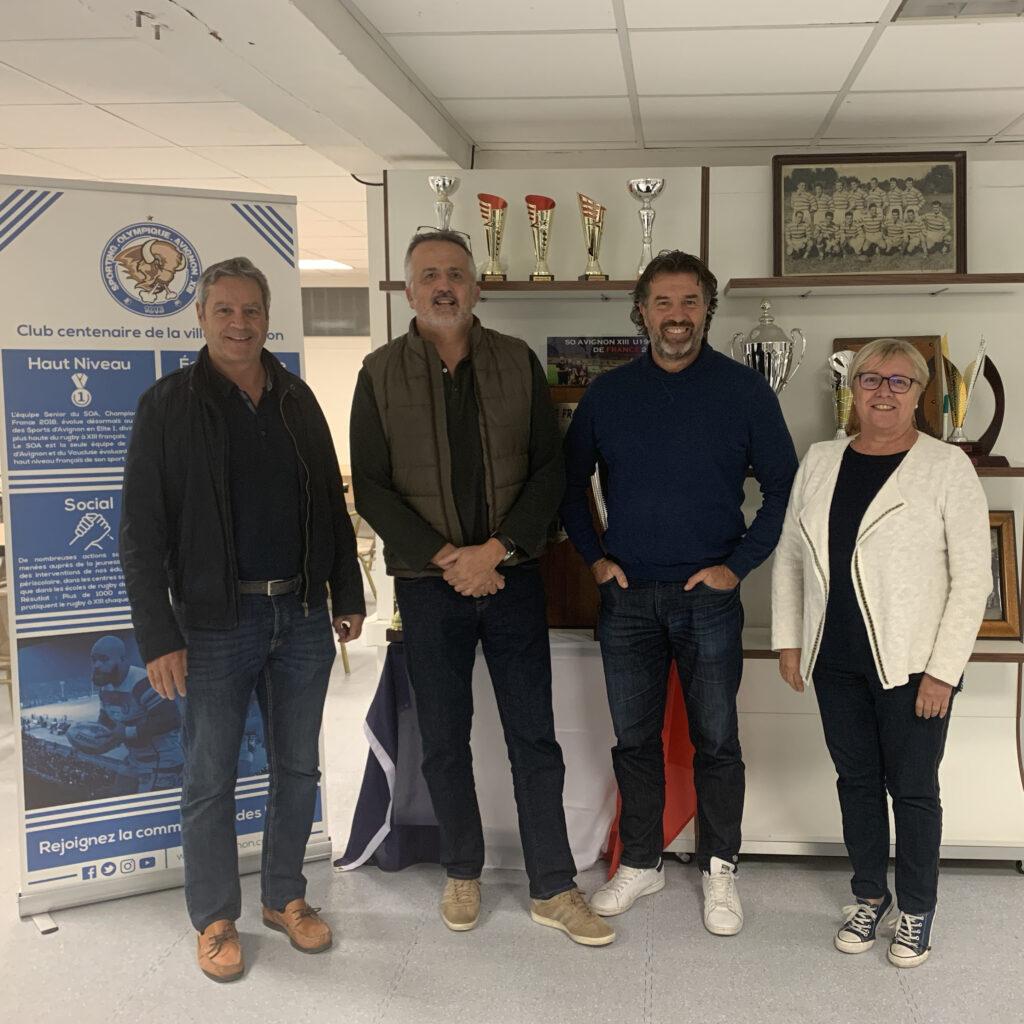 Christophe Jouffret aux cotés de Philippe Jean (directeur sportif), Eric Garzino (co-président) et Roberte Imbert (secrétaire générale)